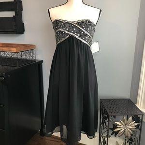 Black Strapless Sequin Top Formal/Semi Dress Sz 6
